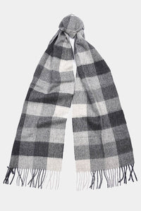 Barbour Large Tattersall Lambswool Scarf - Charcoal Grey - USC0005CH11 - Tied View