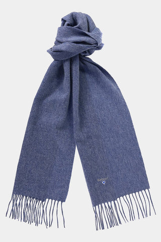 Barbour Scarf Plain Lambswool - Denim Blue - USC0008BL91 - Tied View