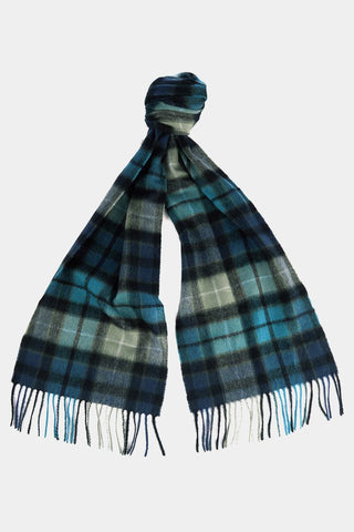 Barbour New Check Tartan Scarf - Black & Aqua Buchanan - USC0137BK11 - Tied View
