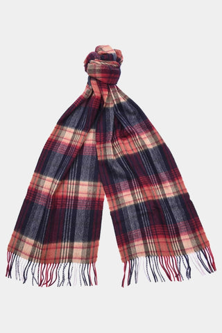 Barbour Brignall Lambswool Scarf - Red/Navy - USC0107RE51 - Tied View