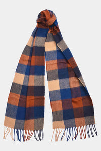 Barbour Large Tattersall Lambswool Scarf - Navy/Camel - USC0005NY11 - Tied View