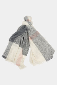 Barbour Plaid Boucle Wrap Scarf - Ecru/Pink/Grey - LSC0215WH11 - Tied View
