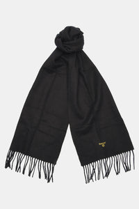 Barbour Scarf Plain Lambswool - Black - USC0008BK11 - Tied View