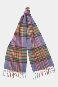 Barbour Scarf Dunnock Lambswool - Lilac Multi Plaid - LSC0218PU51 - Tied View