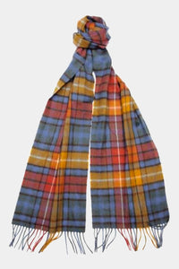 Barbour New Check Tartan Scarf - Antique Buchanan - USC0137BL11 - Tied View