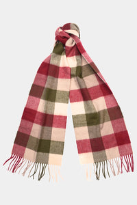 Barbour Large Tattersall Lambswool Scarf - Olive/Burgundy - USC0005OL12 - Tied View