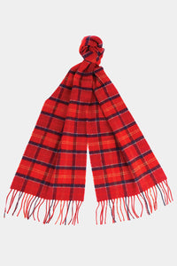 Barbour Tartan Lambswool Scarf - Red Cardinal - USC0001TN12 - Tied View