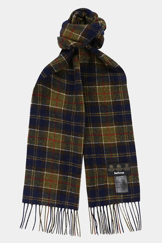 Barbour Scarf Tartan Lambswool - Forest Tartan - USC0001GN11 - Tied View