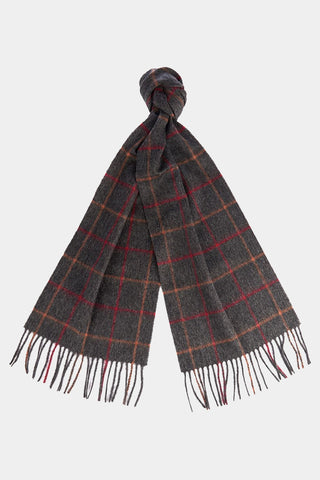 Barbour Tattersall Lambswool Scarf - Charcoal/Red - USC0009CH11 - Tied View
