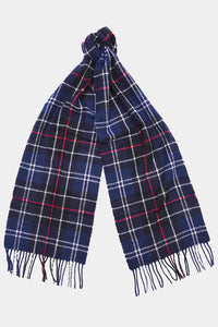 Barbour Tartan Lambswool Scarf - Navy/Red - USC0001NY11 - Tied View