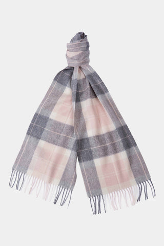Barbour Scarf Tartan Lambswool - Pink/Grey - LSC0129PI11 - Tied View