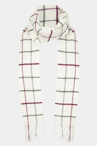 Barbour Tattersall Lambswool Scarf - Cream/Red - USC0009CR11 - Tied View