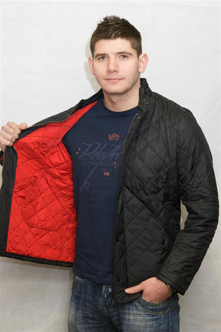 Barbour Chelsea Flyweight Black Red Sportsquilt MQU0007BK91