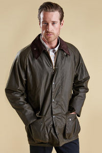 Barbour Beaufort-Classic Wax Jacket-Olive-MWX0002OL71 medium length