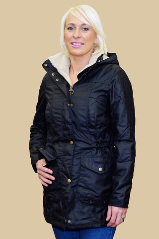 Barbour Bleaklow Ladies wax Jacket in Black LWX0653BK71