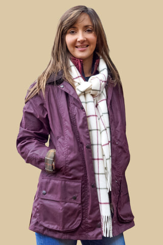 Barbour Classic Beadnell ladies wax jacket in Red/Purple Bordeaux LWX0244RE91