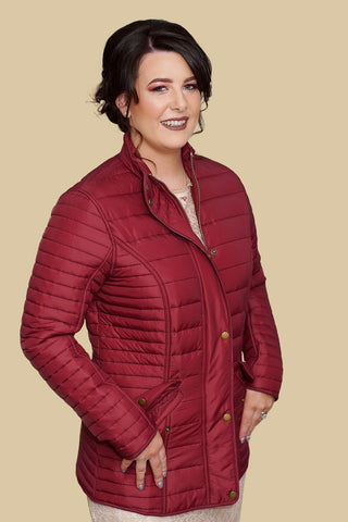 Barbour Crossrail Ladies Quilted Jacket in Burgundy LQU0764RE71