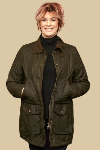 Buy your Barbour Garsdale Ladies mid length waxed jacket from SMYTHS ... ed80414c51