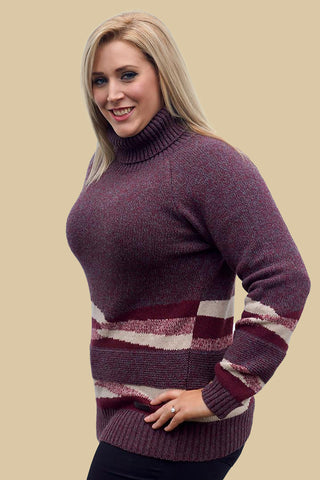 Barbour Grenlaw Ladies Lambswool Sweater in Rosewood