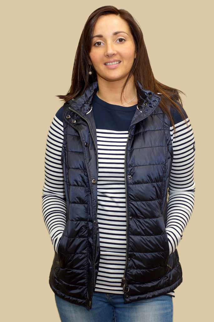 Barbour Ladies Hunbleton Quilted Gilet with hood in NAVY ... : quilted gillet - Adamdwight.com