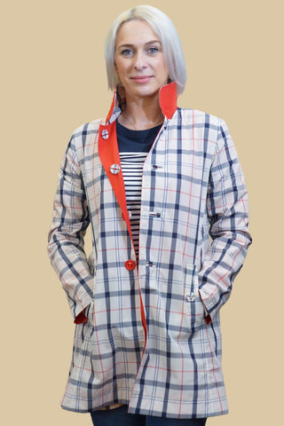 Barbour Ladies Reversible Derby Mac Jacket in Red/Summer LWB0194RE32