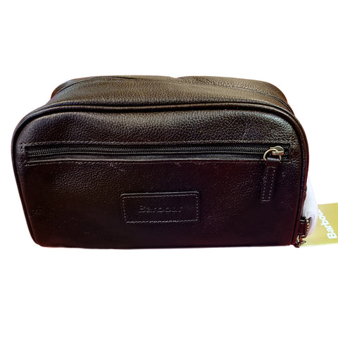 Barbour leather wash bag in Dark Brown Chocolate UBA0009BR91