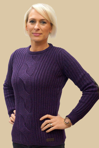 Barbour Lemington Ladies crew sweater in Purple Heather
