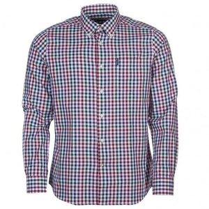 Barbour Shirt-Country Check-Tailored fit-Plum-MSH3225PU31 flat