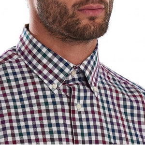 Barbour Shirt-Country Check-Tailored fit-Plum-MSH3225PU31 collar