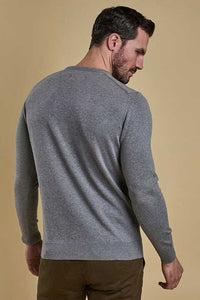 Barbour Sweater-Pima Cotton-Crew Neck-Grey Marl-MKN0932GY51 back