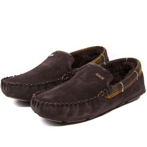 Barbour Slippers-Monty Bedroom Slippers-Brown Suede-MSL0001BR51