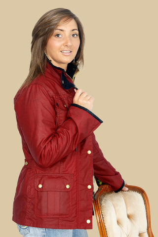 Barbour Morris Utility Ladies Red Wax Jacket With Golden Lily Lining