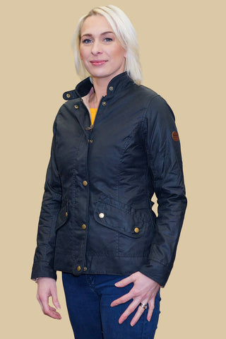 Ladies fitted wax jacket with hood