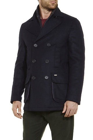 Barbour Mens Hatchlands Wool Coat in Navy MWO0147NY51