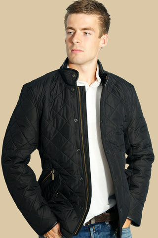 Barbour Powell Mens  Quilted Jacket in Black MQU0281BK11