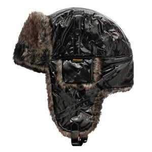 Barbour Hat-PVC Hunter Hat-Faux Fur Trimmed -Black-LHA0107BK11