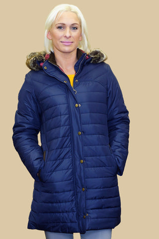 Barbour Rossendale Ladies Quilted Parka coat in Navy LQU0754NY71