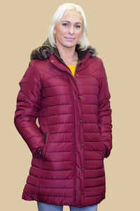 Barbour Rossendale Ladies quilted Parka in Burgundy LQU0754RE71