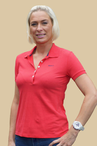 Barbour Sale 5 Button Ladies Polo Shirt in Scarlet Red LML0203RE51