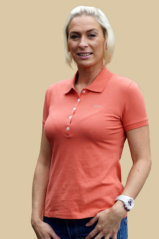 Barbour Sale 5 Button Ladies Polo Shirt in Sienna Orange LML0203OR51