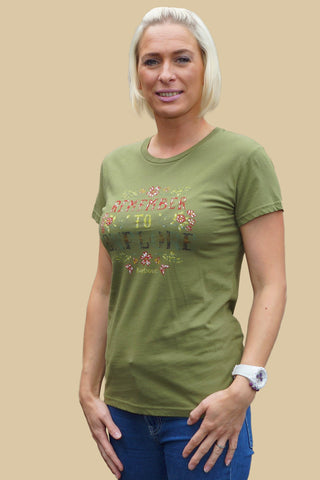 Barbour sale Ladies Howardian Tee shirt in Loden Green LTS0041GN52