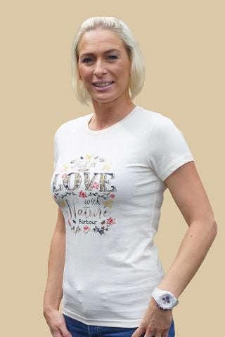 Barbour sale Ladies T-Shirt Love Nature in Cream LTS0004CR52