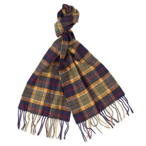 Barbour Scarf-Tartan-Lambswool-Green/Navy/Red-Check-USC0001GN31 golden