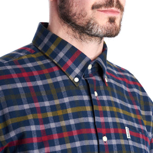 Barbour Shirt-Haldo-Super Soft Brushed Cotton-Navy Check-MSH4570NY91 collar
