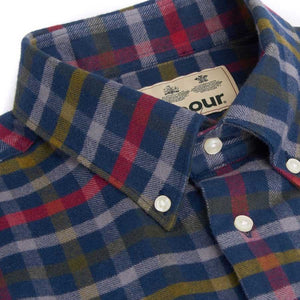 Barbour Shirt-Haldo-Super Soft Brushed Cotton-Navy Check-MSH4570NY91 button