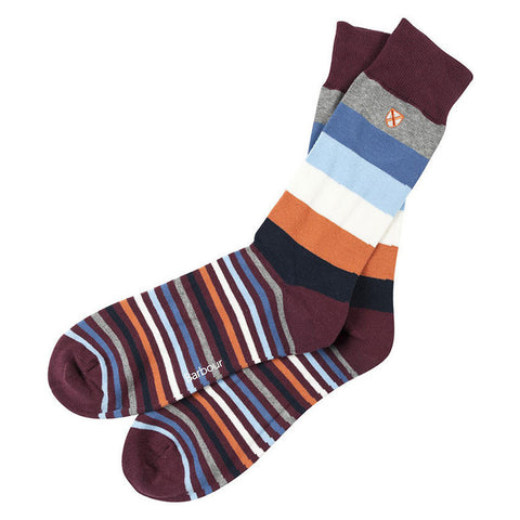 Barbour Sock Heywood Cotton Blend Stripe in Tiger & Blue MSO0052OR111