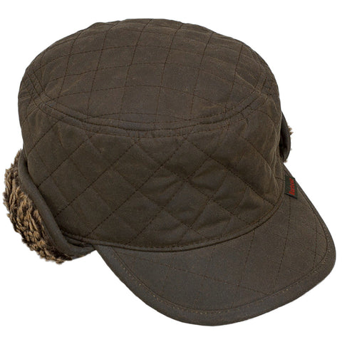 Barbour Hat Stanhope Wax Trapper Hat in Olive MHA0044OL11