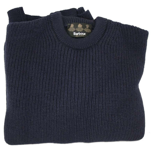 Barbour New Tyne Crew Neck Mens Chunky Wool Sweater in Dark Navy