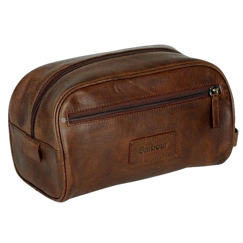 Barbour wash bag in dark brown leather front