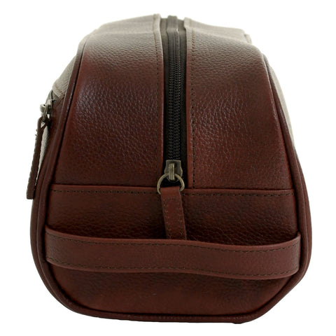 Barbour wash bag in dark brown leather side